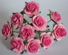 1.5cm LIGHT PINK PINK CENTER Mulberry Paper Roses